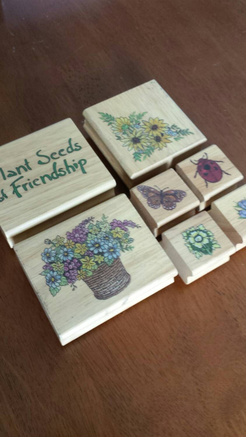 Garden Themed Rubber Stamp Set 7 Stamps Flower Butterfly Ladybug