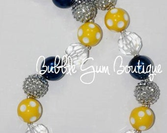 Navy and Yellow Bubble Gum Necklace
