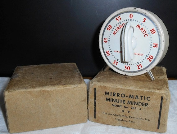 Vintage lux mirror matic minute minder timer with original for Mirror 0 matic