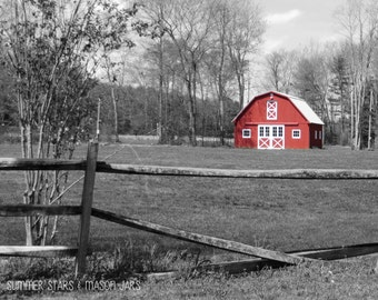 8x10 Black and White Little Red Barn Print - Landscape Photography