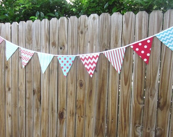 Fabric Banner Bunting - Pennant Flags, Birthday Banner, Photo Prop, Baby Shower, Dr. Suess, Red and Aqua Party