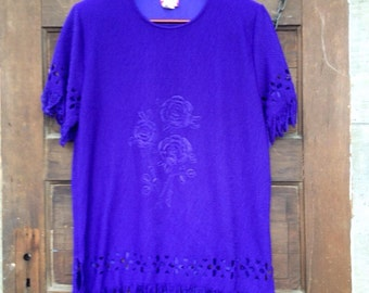 Vintage 70's Purple Fringed Floral Cut Out Tunic by Elsie Massey size Large