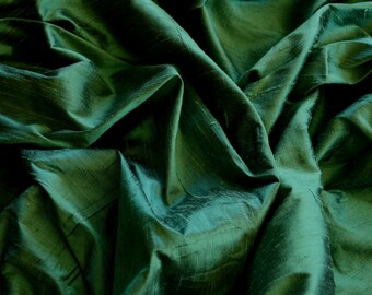"Iridescent Forest Green Dupioni Silk, 100% Silk Fabric, 44"" Wide, By The Yard (S-193)"