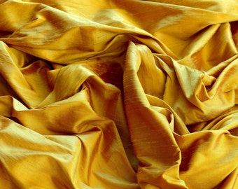 """Iridescent Sunset Gold Dupioni Silk, 100% Silk Fabric, 44"""" Wide or 54"""" Wide, By The Yard (S-148)"""