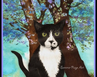Buster, the tuxedo cat, with flowering trees,  card or print -  Drawing with Watercolor Accents, Item #0356a