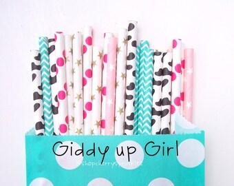 Cowgirl Paper Straws -Gold Stars *Girl Birthday Straws *Girl theme birthday *Country Girl Party -Outdoor Wedding *Wedding Straws -Pink Straw