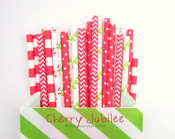 CHERRY JUBILEE *Red Cherry Straws *Red Cherries, RED, Pennants, Polkadots, Garden Party, Lime Green straws -red and green -shower