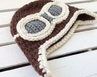 Aviator hat, crochet
