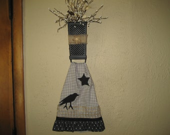 Country Primitive Dish Towel With Cheese Grater Holder Full Of Pip Berries.  Kitchen Wall Decoration