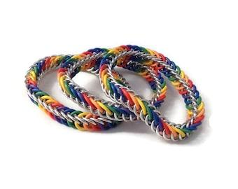 Rainbow Bracelets Family Pack - Set of Family Bracelets - Children's Bracelets - Stretchy Chainmaille Bracelets