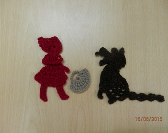 The Red Ridding hood and the Wolf, Crochet Appliques,Crochet Cartoons