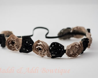 Taupe-Tan & Black Chiffon Halo Headband