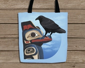 Native Alaska - Raven on Totem Pole - Tote Bag