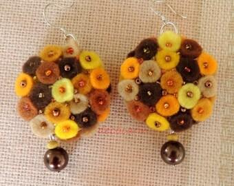 Felt Earrings, Birthday Gift for her, Autumn Earrings, Felted Earrings, Felt Jewelry Jewellery, Felted Jewelry, Boho Jewelry, Autumn Jewelry