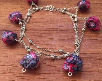 Pink Skull Charmed Bracelet
