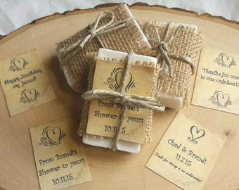 5 Wedding Soap Favors ~ Handcrafted ~ Custom Favours ~ Bridal Shower ~ Baby Shower ~ Rustic Favors