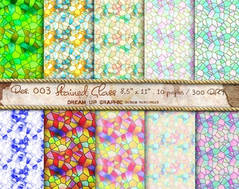 "Glass Digital Paper ""Old Stained Glass"", Stained Textured Digital Scrapbook Paper Pack (8.5x11""-300 dpi), scrapbook Digital papers - Des.003"