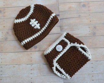 Newborn Football Hat and Diaper Cover Set, 0 to 3 months, Made to Order, Crochet Baby Hat, Newborn Photo Prop, Football Outfit