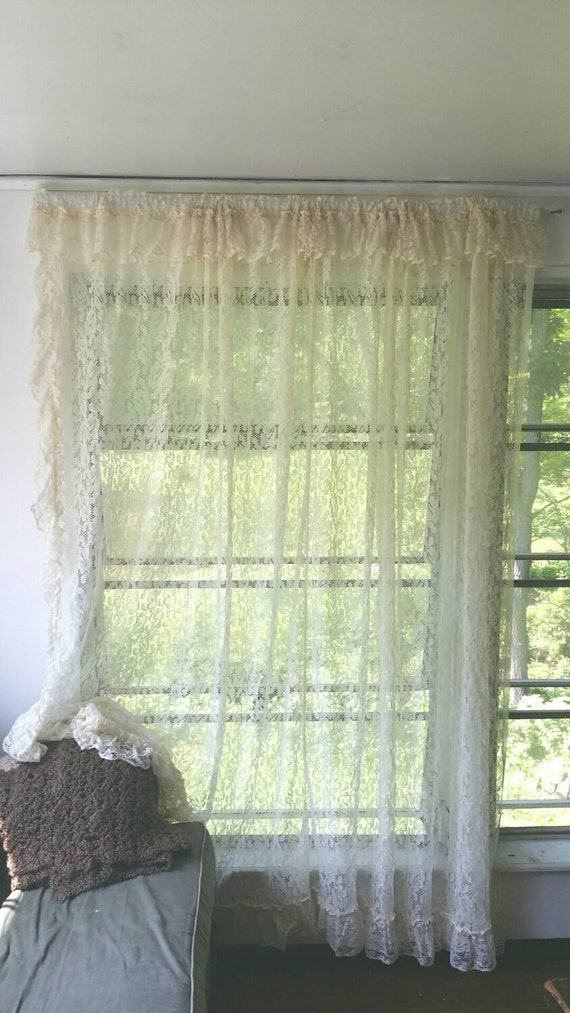 Ivory Lace Curtains French Country Curtain Panels Ivory Cutains Vintage Curtains Antique