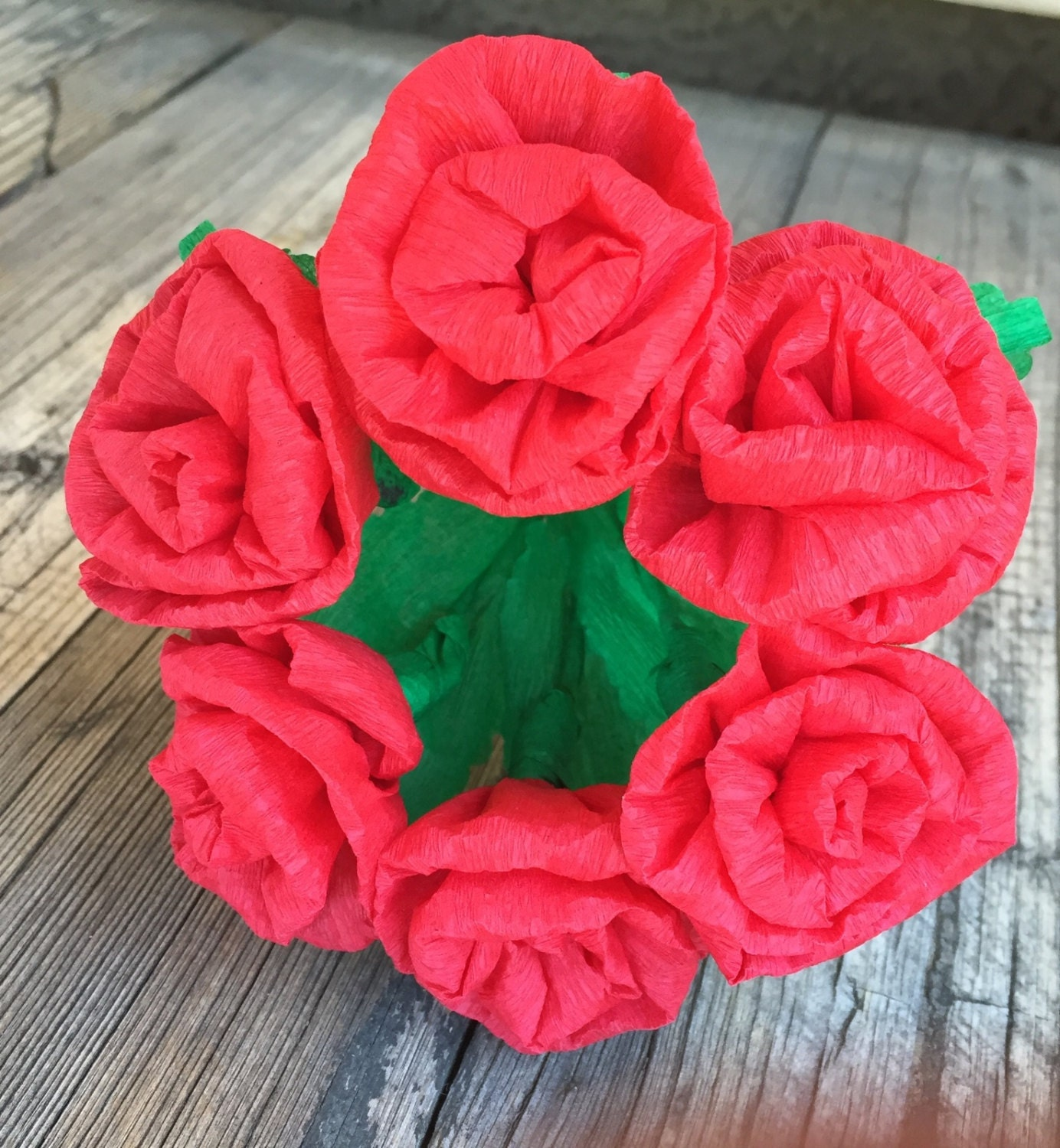 Mexican Crepe Paper flowers Red Roses Bouquet of 6