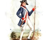 "American Revolution Patriot Soldier Watercolor 8x10"" Print- Americana Decor"