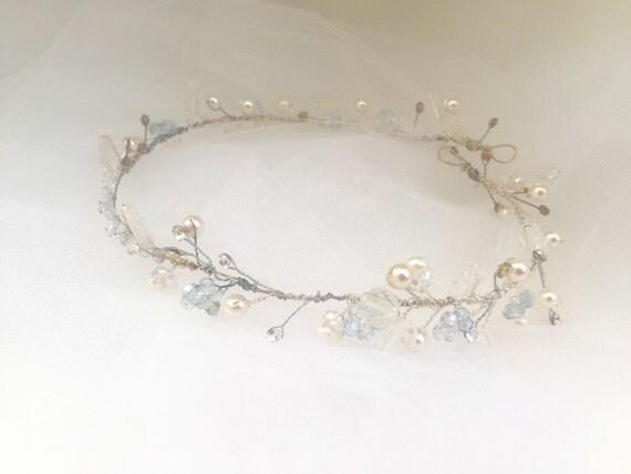 Hair Vine, Crystal Pearl Bead Hair Vine, Rhinestone Hair Wrap, Bridal Hair Beaded Hair Wreath, Pearl Hair Wreath