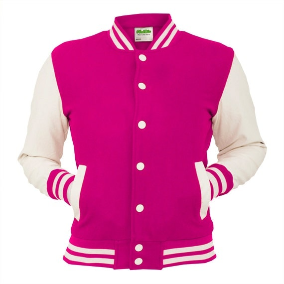 Hot Pink Varsity Jacket Electric College Letterman Coat