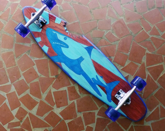 Vintage Inspired Complete Longboard - Red and Blue Kamikaze Shark Skateboard with Trucks and Wheels