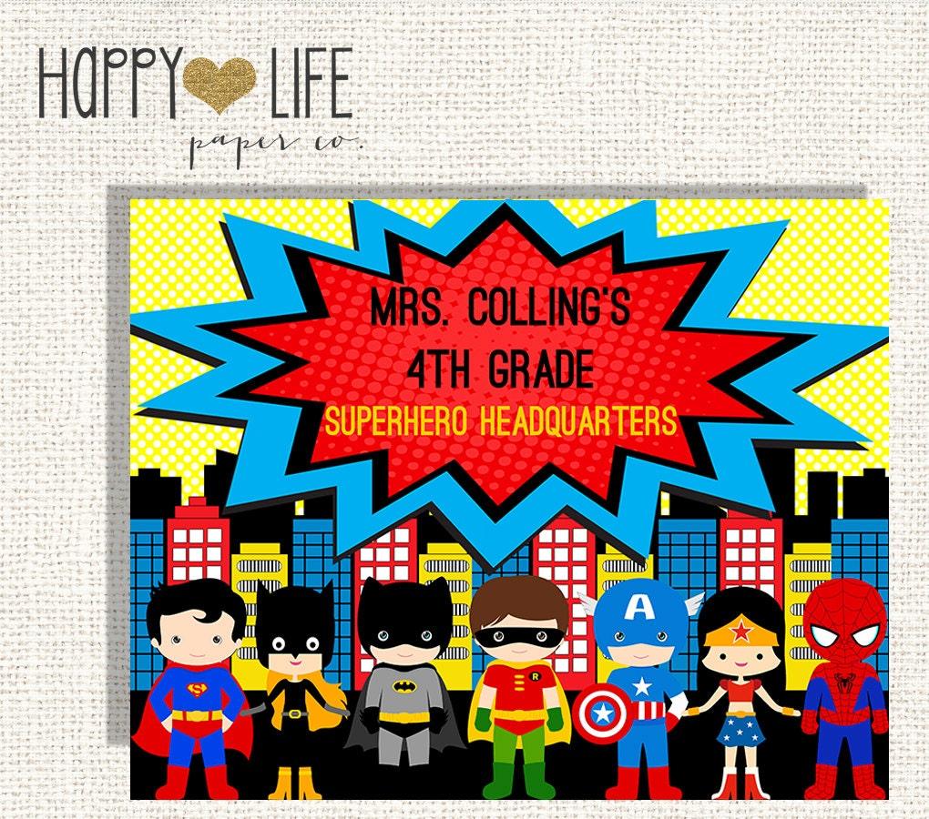 Classroom Decor Superhero : Superhero classroom custom decor by