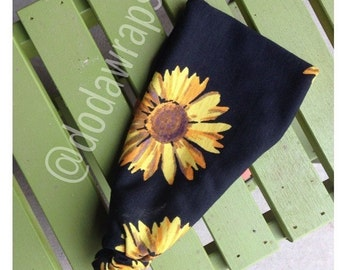 Black Sunflower Fabric Headwrap Headband