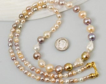 NECKLACE Multicolor Freshwater PEARLS Chrome & Gold Vermeil 925 Sterling SILVER
