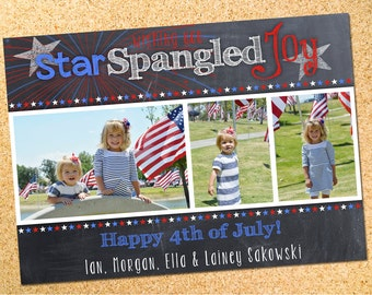 4th of July - Fourth of July - Chalkboard - Photo Card - Printable
