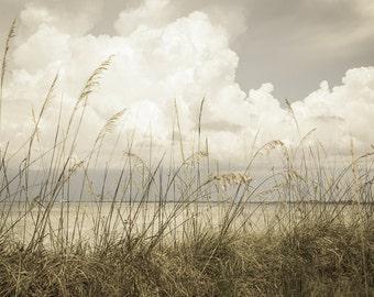 Beach Photography, Seascape Art, Beach Print, Florida Beaches, Seaside Print, Puffy Clouds, Cottage Decor, Beach House Decor, Neutral Tones