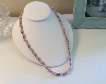Vintage Pink Glass and Goldtone Bead Necklace