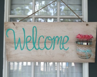 Hand Painted 'Welcome' sign