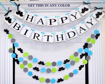 Happy 1st Birthday banner garland set, Boy first birthday decorations lime green blue black mustache Baby's first birthday banner I am one
