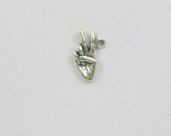 Sterling Silver 3-D Hand with Victory or Peace Sign Charm
