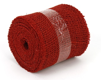 "Red 4"" by 10 yards burlap ribbon, great for rustic decorations, DIY, country look. Available in other colors. (BRH04-11)"
