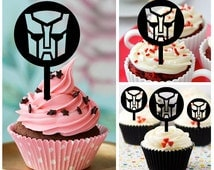 Ca394 New Arrival 10 pcs/Decorations Cupcake Topper/ transformers bumblebee /Wedding/Props/Party/Food & drink/Vintage/Fun/Birthday/Shop
