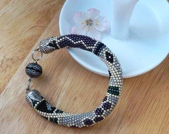 Princess Budur - Beaded crochet Bracelet beads bracelet Patchwork grey black silver Beadwork jewelry Bead Crochet