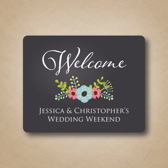 Chalkboard Gable Box Labels Wedding Welcome Labels Floral Stickers