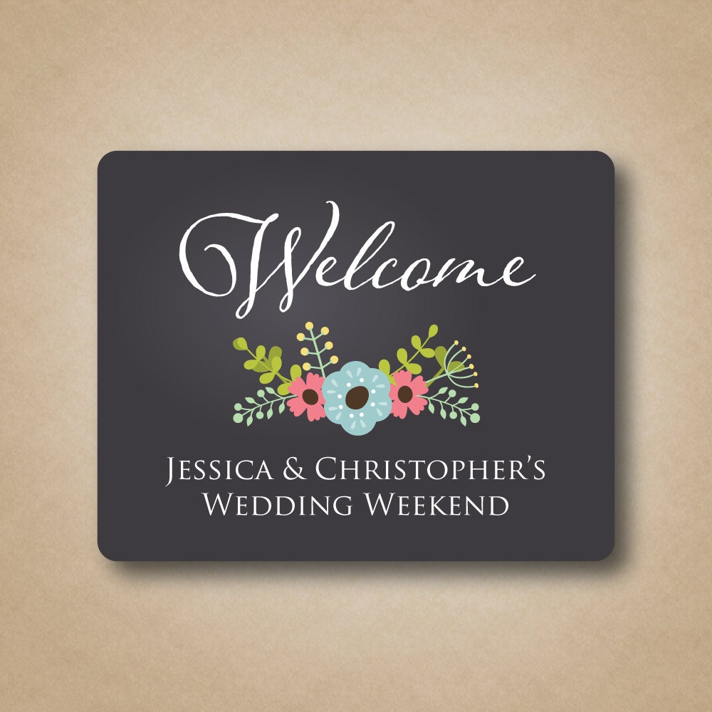 Wedding Gift Box Stickers : Chalkboard Gable Box Labels Wedding Welcome Labels Floral