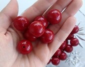 20mm Red Gumball Beads, 10 pcs, Acrylic Beads/ Bubblegum Beads/ Chunky Round Beads/ Solid Cranberry Red Necklace Beads