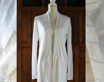 Stylish White loose jersey Jacket