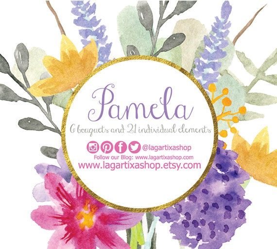 Watercolor Clipart Floral PNG Wedding Bouquet Arrangement