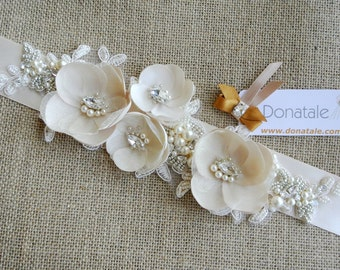 Rose gold Wedding sash, Bridal belt ,Wedding belt, Lace sash,Pearl & Rhinestone sash, Pearl  sash, Champagne  Bridal sash -BABETTA