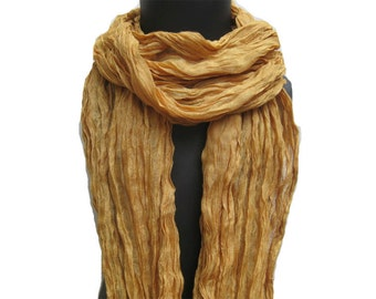 Yellow scarf/ golden scarf/ plain scarf/ long scarf in cotton. Lace scarf/ Fashion scarf/ Gift ideas.
