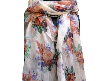 Multicolored scarf/ chiffon scarf/ fashion scarf/ floral scarf/ gift scarf / for her/ gift ideas.
