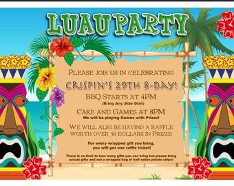Customized Luau Party Invitation - Digital File  - Hawaiian Theme - Backyard Birthday Party - Tiki -