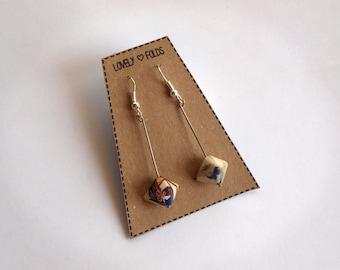Dangle geometric origami earrings